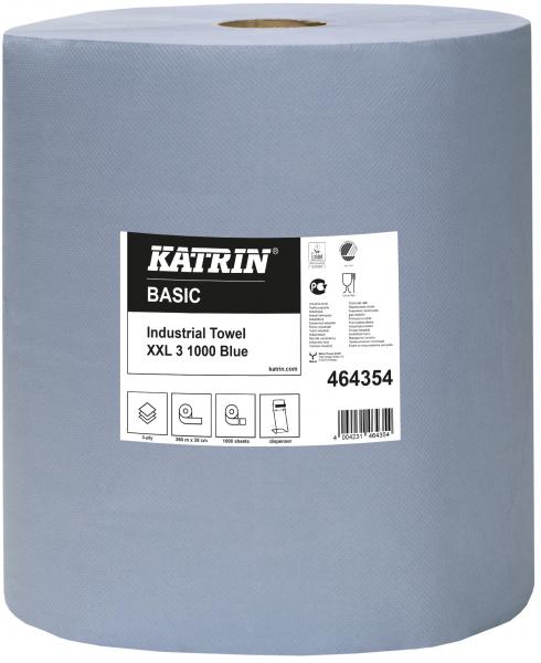 KATRIN Putzrolle Basic XXL, 3lagig, blau, Format: 38,0 x 36 cm, 1000 Blatt, Inhalt: 1 Rolle